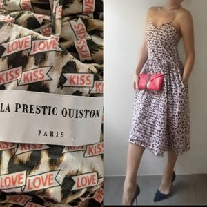 La Prestic Ouiston kiss kiss love print midi dress